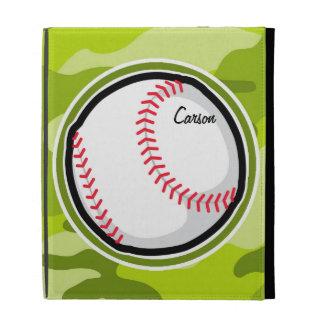 Baseball on Green Camo Camouflage iPad Folio Case