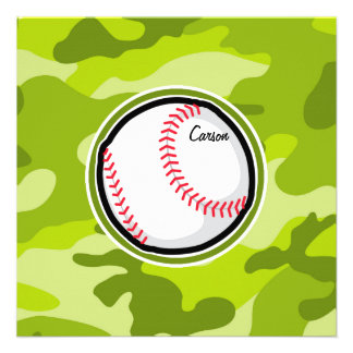 Baseball on Green Camo Camouflage Personalized Invite