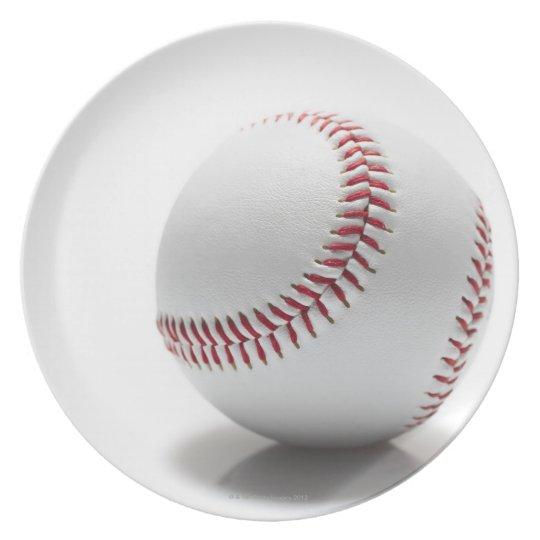 Baseball on white background plate