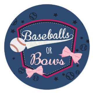 Baseball or bows Gender Reveal Card