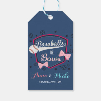 Baseball or bows Gender Reveal Pack Of Gift Tags