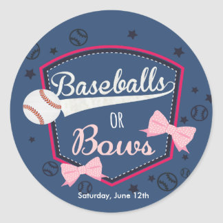Baseball or bows, Gender Reveal Stickers