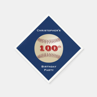 Baseball Paper Napkins, 100th Birthday Party Disposable Napkins