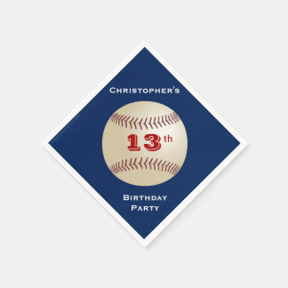 Baseball Paper Napkins, 13th Birthday Party Disposable Napkins