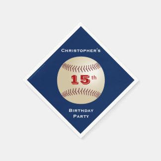 Baseball Paper Napkins, 15th Birthday Party Standard Cocktail Napkin