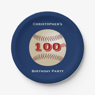 Baseball Paper Plates, 100th Birthday Party 7 Inch Paper Plate
