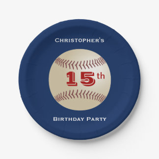 Baseball Paper Plates, 15th Birthday Party 7 Inch Paper Plate