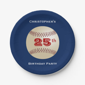 Baseball Paper Plates, 25th Birthday Party 7 Inch Paper Plate