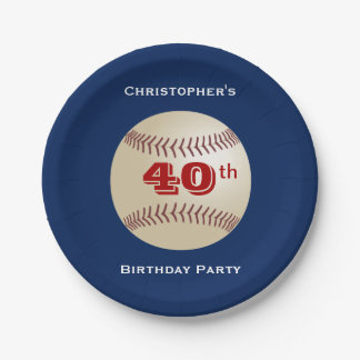 Baseball Paper Plates, 40th Birthday Party 7 Inch Paper Plate