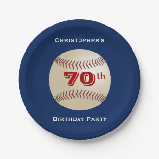 Baseball Paper Plates, 70th Birthday Party 7 Inch Paper Plate