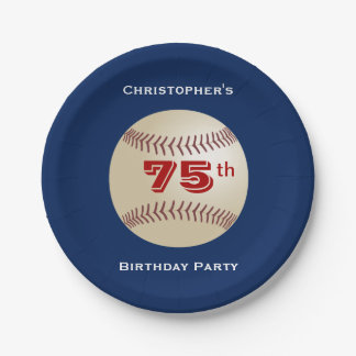 Baseball Paper Plates, 75th Birthday Party 7 Inch Paper Plate