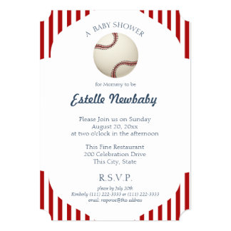 Baseball Park Stripes Baby Shower Card
