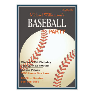 Baseball Party Birthday Invitation