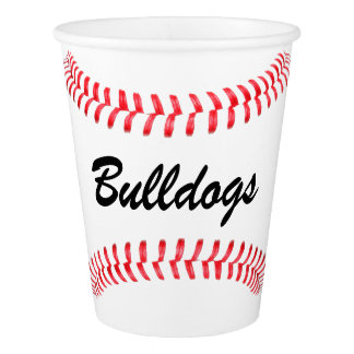 Baseball Party Cups with Team Name or Other Text! Paper Cup