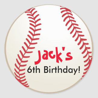 Baseball party Sports Birthday Stickers