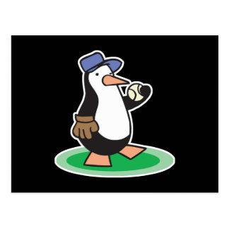 baseball penguin postcard