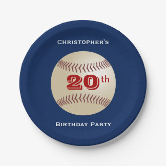Baseball Personalized 20th Birthday Party 7 Inch Paper Plate
