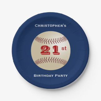 Baseball Personalized 21st Birthday Party 7 Inch Paper Plate