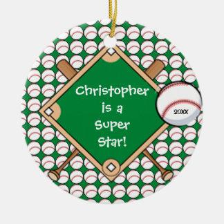 BaseBall Personalized Boy Christmas Ornament