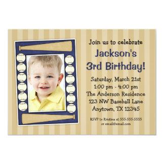 Baseball Photo Birthday Party Blue 5x7 Paper Invitation Card