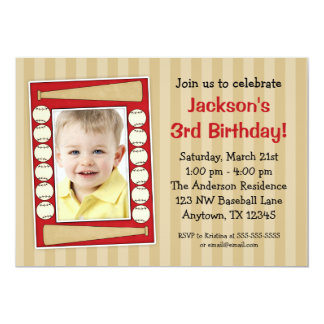 Baseball Photo Birthday Party Red Announcements