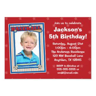 Baseball Photo Birthday Party Red Stars Invitation