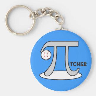 Baseball Pi-tcher - Funny Pi Basic Round Button Keychain