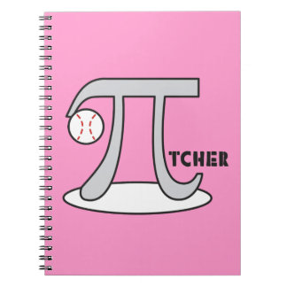 Baseball Pi-tcher PINK - Funny Pi Notebook