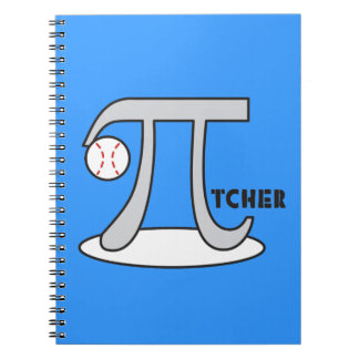 Baseball Pi-tcher with Ball - Funny Pi Gift Spiral Notebooks