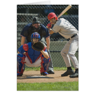 Baseball pitcher, batter and umpire in ready card