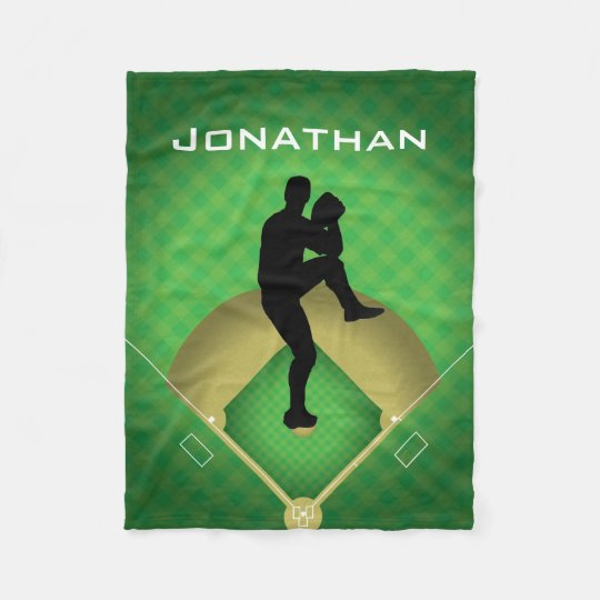 Baseball Pitcher Design Fleece Blanket