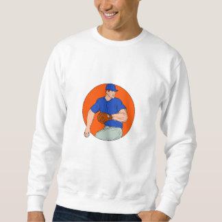 Baseball Pitcher Ready To Throw Ball Circle Drawin Sweatshirt
