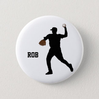 baseball player  badge 2 inch round button