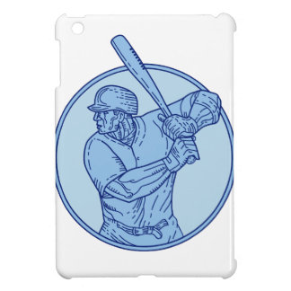 Baseball Player Batter Batting Circle Mono Line iPad Mini Covers