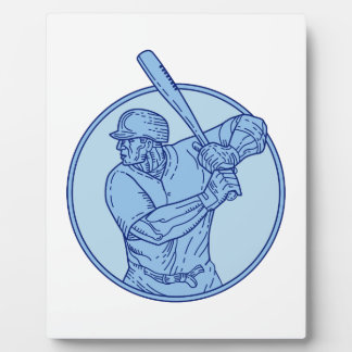 Baseball Player Batter Batting Circle Mono Line Plaque