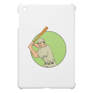 Baseball Player Batting Stance Circle Drawing iPad Mini Cover