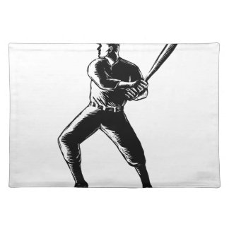 Baseball Player Batting Woodcut Black and White Placemat
