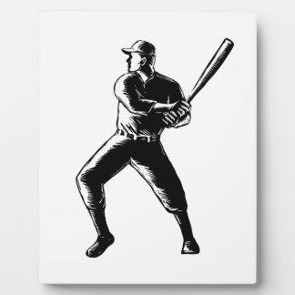 Baseball Player Batting Woodcut Black and White Plaque