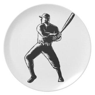 Baseball Player Batting Woodcut Black and White Plate