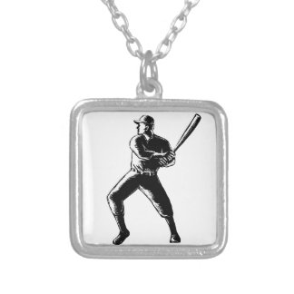 Baseball Player Batting Woodcut Black and White Silver Plated Necklace