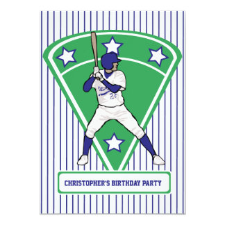 Baseball Player Blue Birthday Party 5x7 Paper Invitation Card