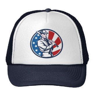 Baseball player holding bat american flag woodcut trucker hats