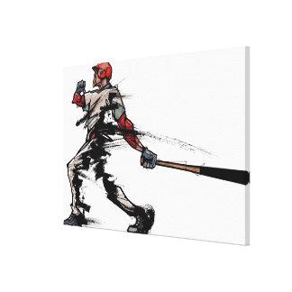 Baseball player holding bat, side view canvas print