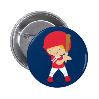Baseball player on blue button customizable
