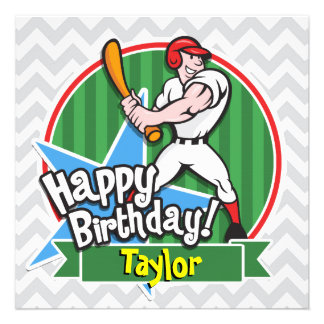Baseball Player on Light Gray and White Chevron Announcements