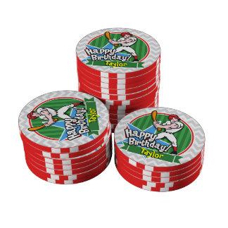 Baseball Player on Light Gray and White Chevron Set Of Poker Chips