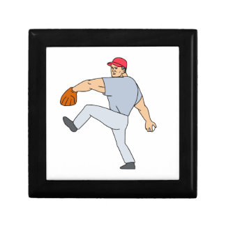 Baseball Player Pitcher Ready to Throw Ball Cartoo Gift Box
