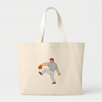 Baseball Player Pitcher Ready to Throw Ball Cartoo Large Tote Bag