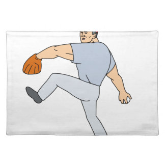 Baseball Player Pitcher Ready to Throw Ball Cartoo Placemat