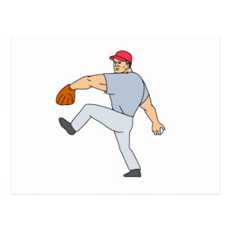 Baseball Player Pitcher Ready to Throw Ball Cartoo Postcard